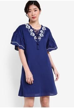 【ZALORA】 Collection 刺繡短袖洋裝