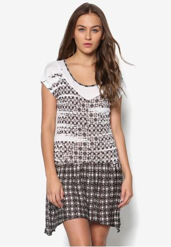 印花短袖連esprit 品牌身裙, 服飾, 洋裝