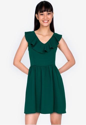 ZALORA BASICS green V-Neck Ruffle Mini Dress AFFBBAA74525D8GS_1