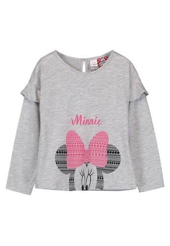 LC Waikiki grey Baby Girl's Minnie Mouse Printed T-Shirt 6B798KAD2403DFGS_1