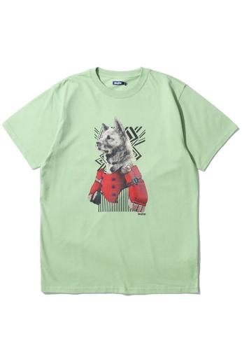 BLOCKAIT green Dog graphic tee 1DE75AAC44D6A2GS_1