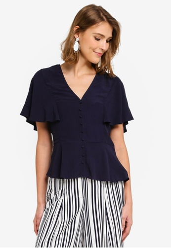 baa74d8db8eaa Buy WAREHOUSE Button Front Tea Blouse Online on ZALORA Singapore