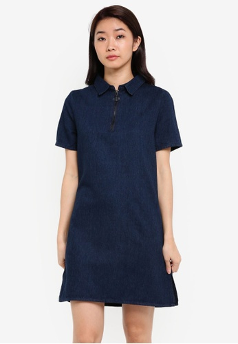 ZALORA blue Zipper Detail Denim Shift Dress 173ABZZ343FE47GS_1