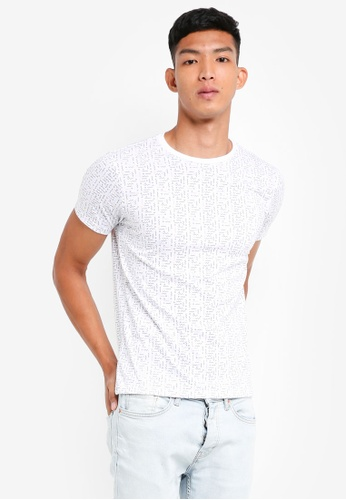 Penshoppe 白色 修身短袖印花T恤 E9426AAAAC9065GS_1