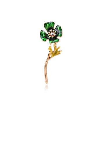 Glamorousky white Simple and Fashion Plated Gold Green Four-leaf Clover Brooch with Cubic Zirconia 39FB7ACC3ACB02GS_1