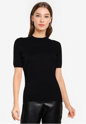 OVS black Short Sleeves Round Neck Sweater 1484CAAFBB41BFGS_1