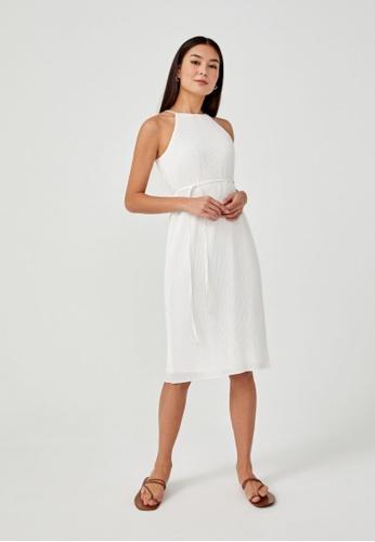 Love, Bonito white Sitara Micro Pleat Halter Neck Midi Dress 8A70EAA08E116FGS_1