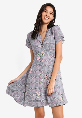 ZALORA grey and multi Button Down Self Tie Dress 09842AABBE6661GS_1
