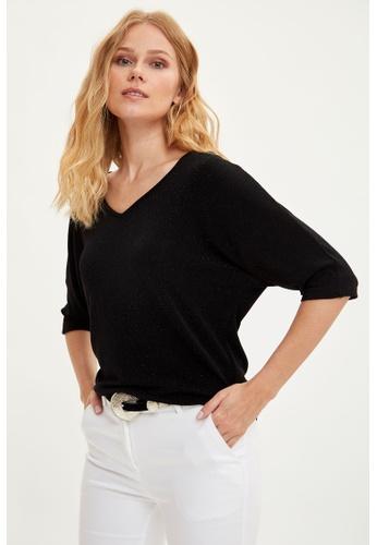 DeFacto black Woman Knitted Short Sleeve T-Shirt C9F0EAAE2B28B2GS_1