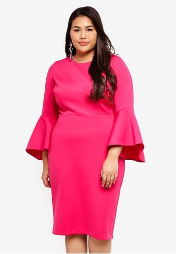 Plus Size Flare Sleeve Scuba Dress