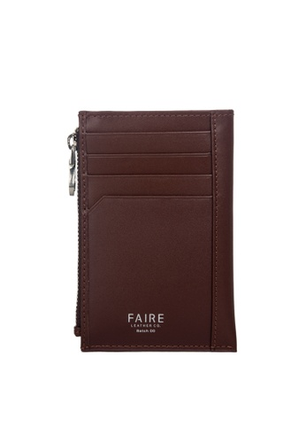 Faire Leather Co. brown Specter VT Card Wallet with Coin Pouch (Dark Brown) - Slim Leather Wallet EA4DCAC498A1F8GS_1