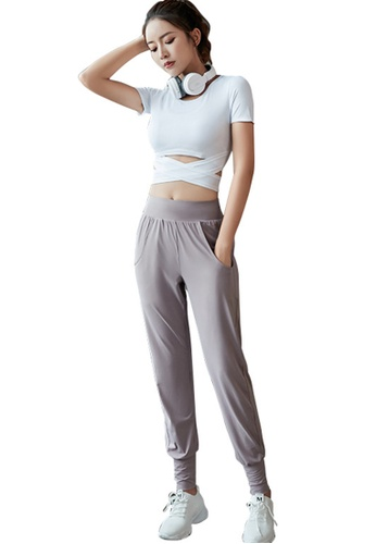 B-Code white ZYG3093-Lady Quick Drying Running Fitness Yoga Sports Top and Leggings Two Pieces Set -White 15856AA038F966GS_1