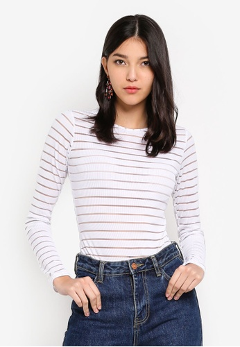 586a187cbd345 Buy MISSGUIDED Crew Neck Stripe Mesh Bodysuit Online on ZALORA Singapore
