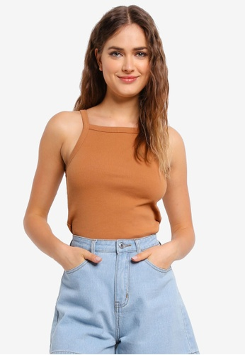 UniqTee brown Ribbed Camisole 10A57AA3BD134AGS_1