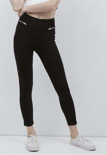 Odiva Woman black COMFY LEGGINGS WITH ZIPPER DETAIL - BLACK 301B9AA8B039A6GS_1