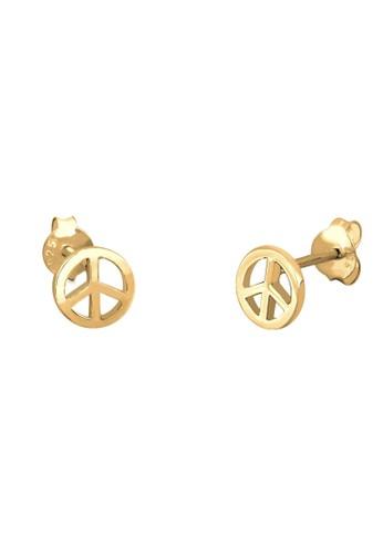 和平標誌鍍金 925esprit hk 純銀耳環, 飾品配件, 耳釘