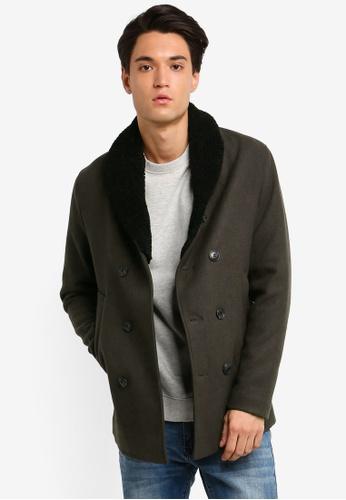 Jack & Jones 綠色 羊毛外套 D033BAAAD74306GS_1