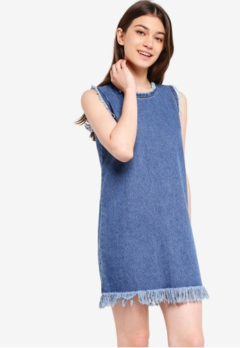 Something Borrowed blue Frayed Sleeveless Dress 1B77EAA72D236AGS_1