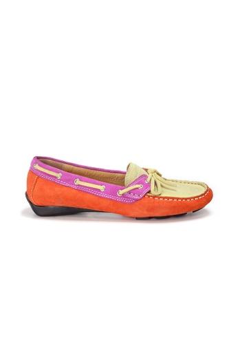 Shu Talk 橘色 AMAZTEP 真皮彩虹輕便豆豆鞋 B2447SHB881375GS_1