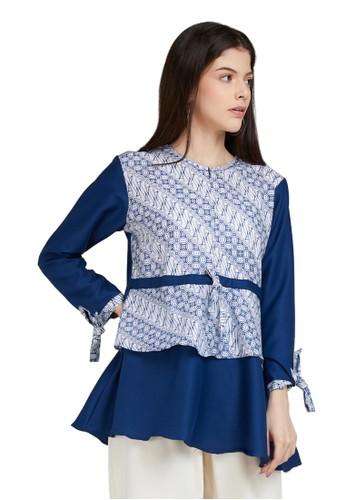 Batik Arustaya blue Kaneishia II Blouse Batik Wanita Modern A36E2AAB76B08CGS_1