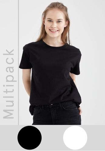 DeFacto black 2-pack Short Sleeve T-Shirt 0D1B1AA9302968GS_1