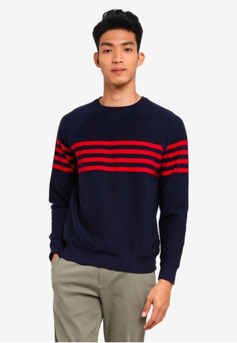 Brooks Brothers navy Red Fleece Chest Stripe French Terry Crew Knit Sweater B72FFAAA70BF37GS_1