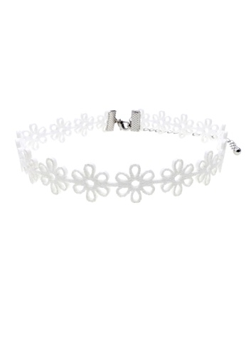 LUCCACAL white Floral Cutout Choker LU294AC75XWIMY_1