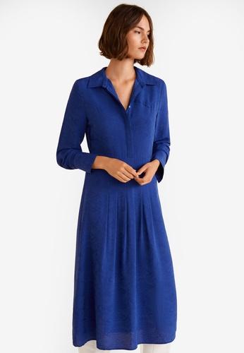 Mango 藍色 Snake Print Shirt Dress F6181AA2CEFE01GS_1