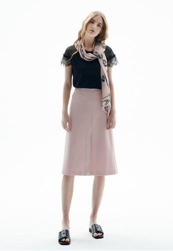 iROO pink Midi Skirt 4D566AA6F28DDAGS_1