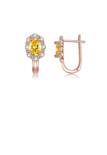 Glamorousky white Simple and Elegant Plated Rose Gold Flower Earrings with Yellow Cubic Zirconia 4C190ACA32F5AFGS_1