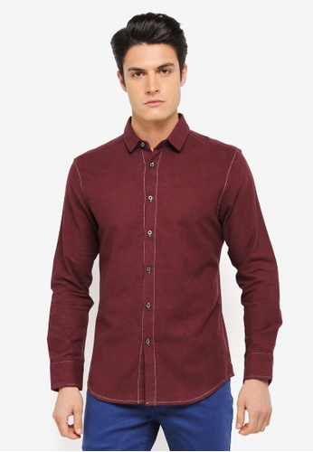 ZALORA red Contrast Stitchline Casual Long Sleeve Shirt 22326AA8B75721GS_1