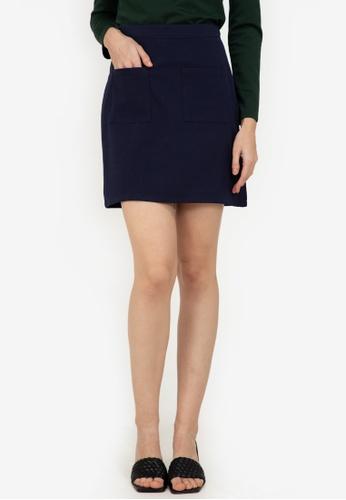 ZALORA WORK navy Patch Pocket Mini Skirt ABBB9AA73311F6GS_1