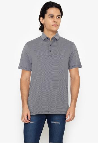 Jack Nicklaus navy Black Label - Fineline Feeder Stripe- Polyester Spandex Polo Shirt A520BAA584F37CGS_1
