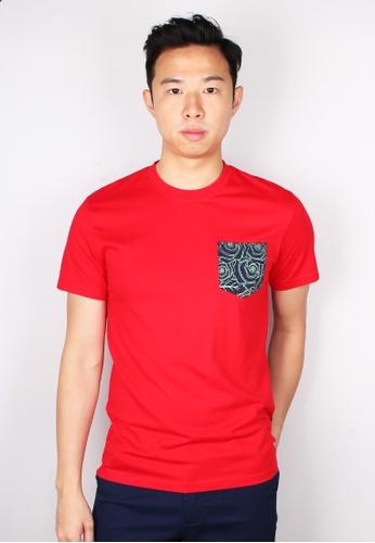 Moley red Floral Print Pocket T-Shirt 6B466AA0B472EDGS_1