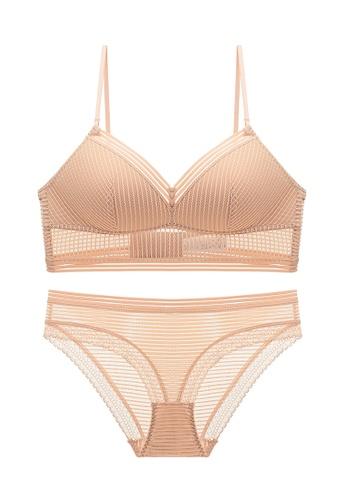 ZITIQUE beige Comfortable Wireless Lace Lingerie Set (Bra And Underwear) - Beige D5F81US31FE267GS_1