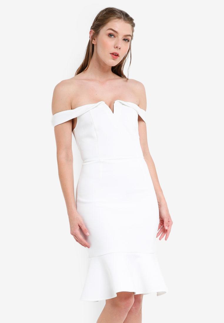 ZALORA Dress Fluted Shoulder Off Hem White Bridesmaid TwvqH08X