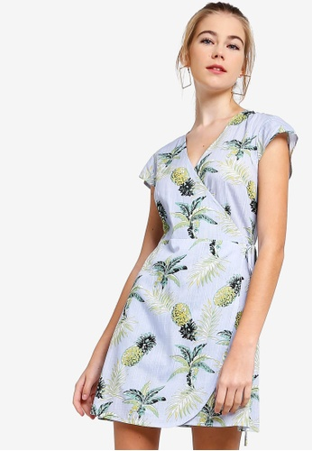 Something Borrowed blue Printed Wrap Dress BCA34AAB059914GS_1