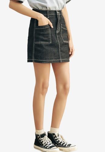Shopsfashion 藍色 Pocketed Mini Skirt CC692AADEF7F4CGS_1