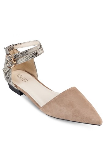 Maria 蛇紋繞踝側空平底鞋, 女鞋zalora 鞋評價, 鞋