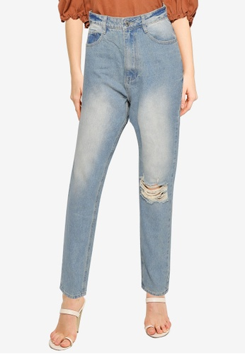 MISSGUIDED blue Riot Single Busted Knee Mom Jeans 0909FAAF61A654GS_1