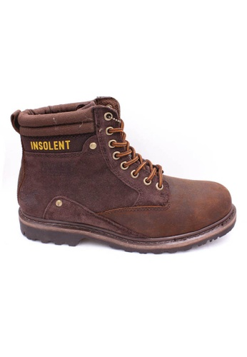 midzone brown Genuine Leather Steel Toe Safety Boots MI949SH01WJYMY_1