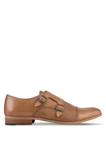 Topman brown Tan Leather Monk Shoes TO413SH0SJLCMY_1