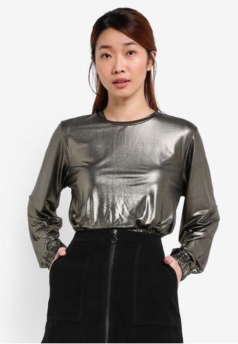 Something Borrowed grey Metallic Knit Cropped Sweater AF84BAA1FF4698GS_1