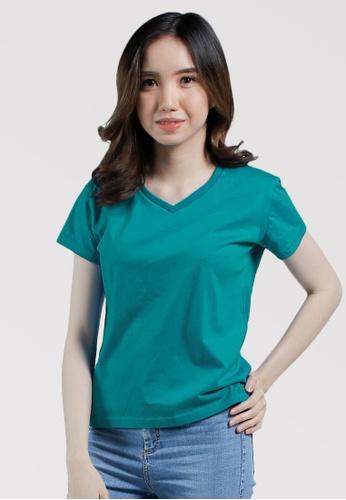 CROWN green Ladies VNeck Tshirt 1C8D6AA3D5F52CGS_1