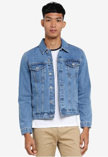 !Solid blue Cool Denim Jacket B9F42AA7E1E3F4GS_1