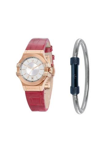 Maserati red Potenza Quartz Watch R8851108501 Cherry Leather Strap + Blue PVD Stainless Steel Bracelet JM08 A5890AC1256BCFGS_1
