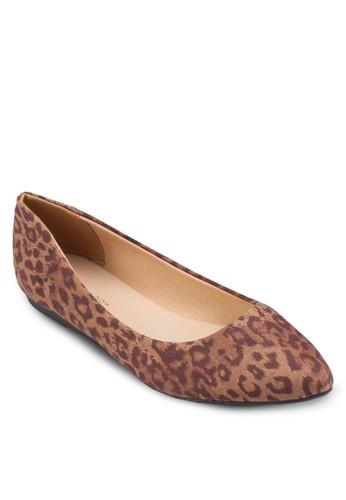 豹esprit香港分店紋印花麂皮尖頭平底鞋, 女鞋, 鞋