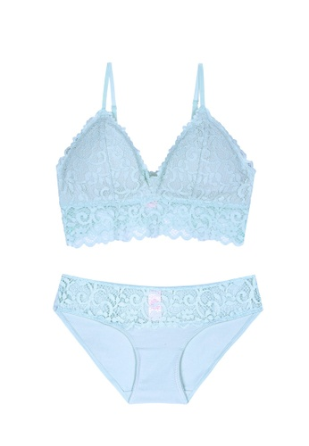 ZITIQUE blue Women's Floral Lace Embroidered Comfortable Thin Padded Bralette Lingerie Set (Bra And Underwear) - Blue D3F3BUS8DACACDGS_1