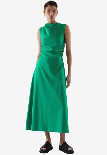 COS green Gathered Midi Dress 9B041AA8B963E1GS_1