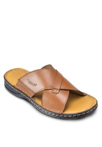 Clapton 仿皮交叉寬esprit香港分店帶涼鞋, 韓系時尚, 梳妝